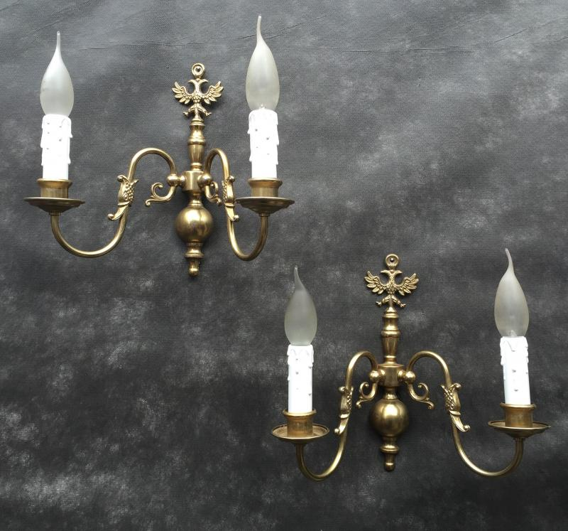 Ref No. WSBE- Pair of Stunning Two Arm Vintage Antique Brass Wall Lights