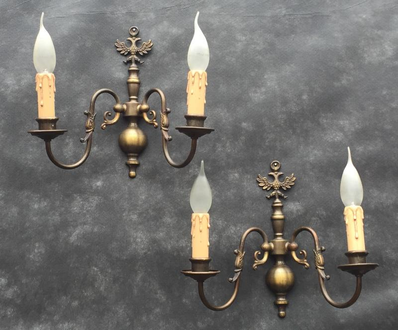 Vintage Antique Brass Gilt Wall Sconce Chandelier, Flemish, French, Light