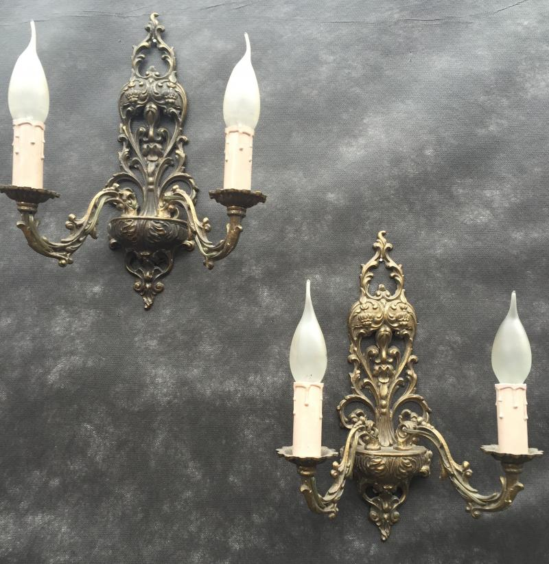 Ref No. WSBG- Pair of Large Stunning Two Arm Vintage Antique Brass Wall Lights