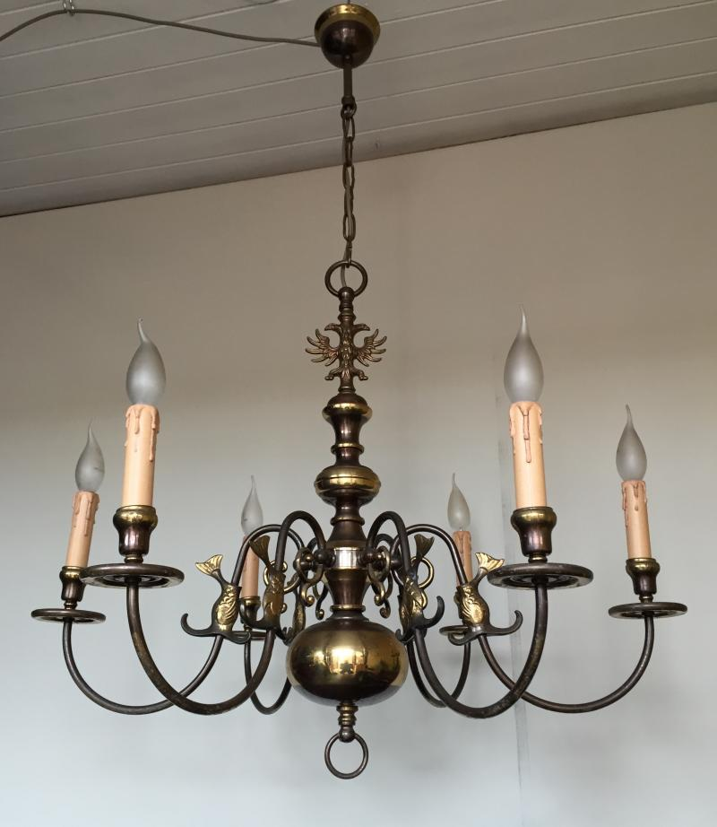 CHDD - Stunning Vintage Antique Brass 6 Branch Arm Chandelier, French, Flemish,