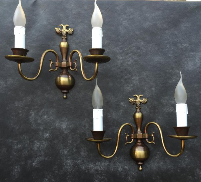 Ref No. WSJG- Pair of Stunning Two Arm Vintage Antique Brass Wall Lights