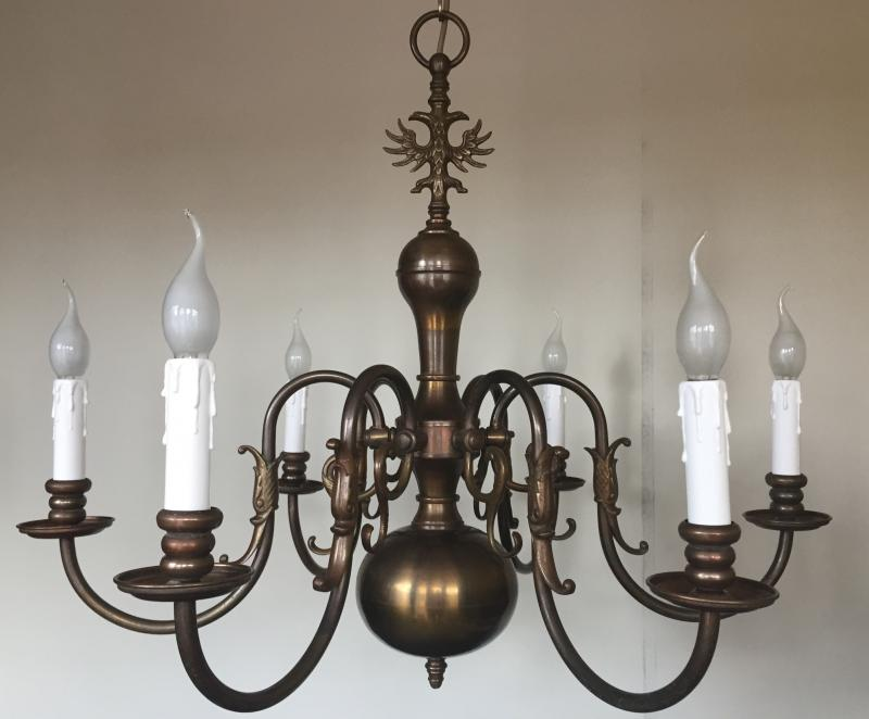 CHDH - Stunning Vintage Antique Brass 6 Branch Arm Chandelier, French, Flemish,