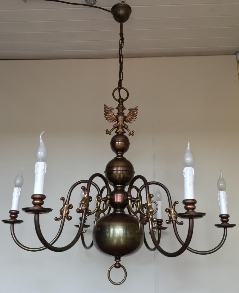 CHBA - HUGE Vintage Antique Brass 6 Branch Arm Chandelier, French, Flemish