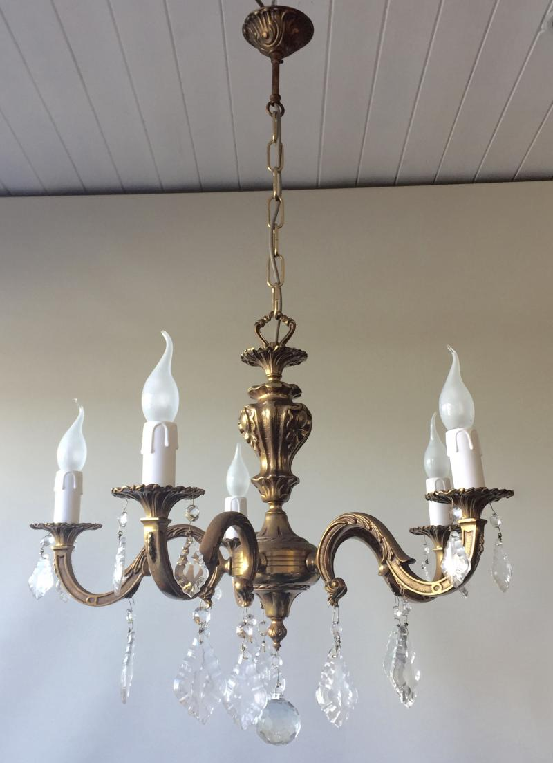 CHGA - Exquisite Vintage Antique Gilt Brass Bronze Rococo 5 Branch Chandelier