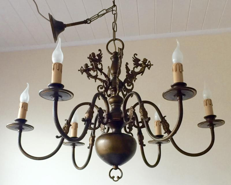 Original Vintage Antique Brass 6 Branch Chandelier Cupids Little Hunters Detail