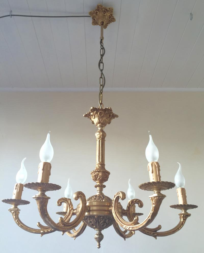 CHCF - Exquisite Vintage Antique Gilt Brass Bronze Rococo 6 Branch Chandelier