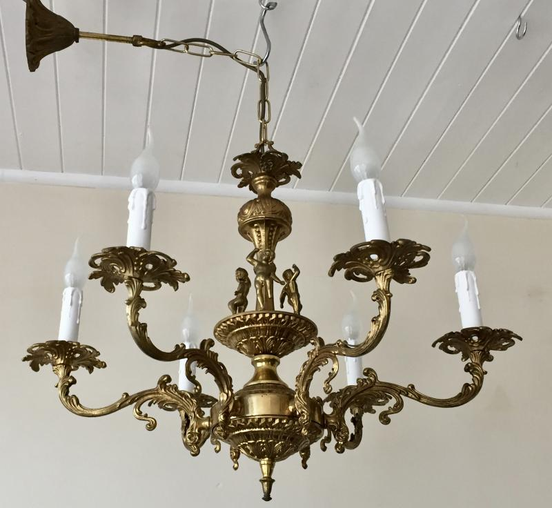 Stunning Vintage Antique Brass 6 Branch Cherubs Rococo Chandelier