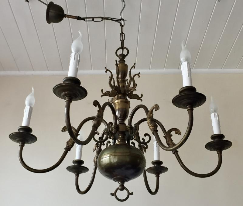 CHQEAX - Stunning Rewired Vintage French Brass 6 Branch Flemish Chandelier.