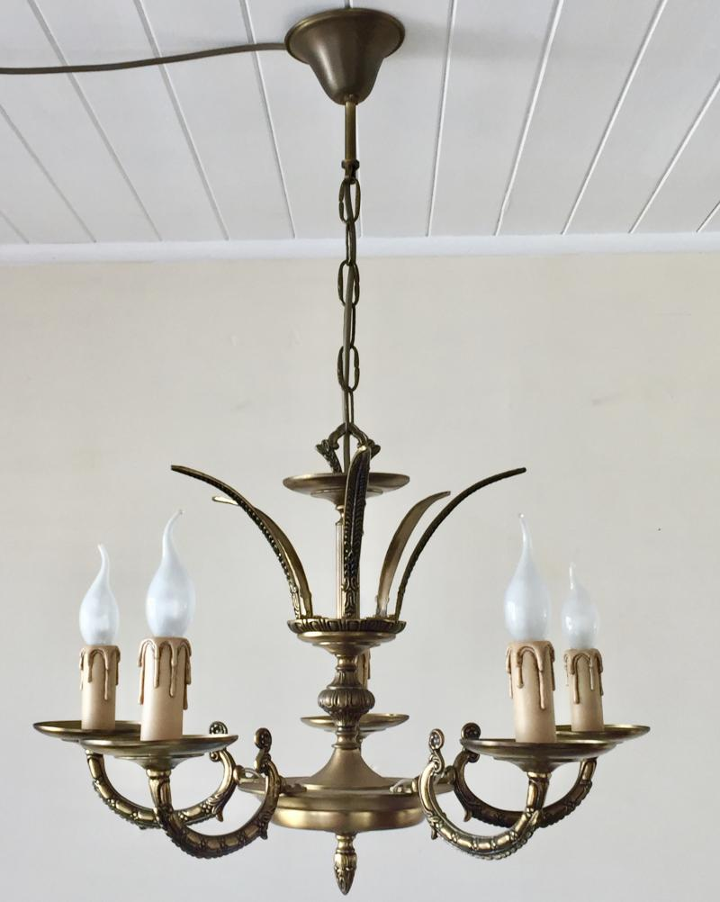 Ref No. CHQEAM - Beautiful Petite Vintage Brass 5 Branch Crown Top Chandelier.