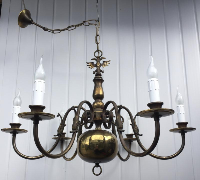 CHQECG - Vintage French Antique Brass 6 Branch Flemish Chandelier.