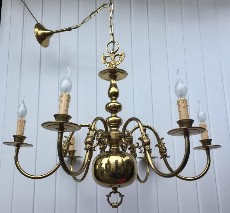 CHQEBH - Huge Vintage Antique Brass 6 Branch Flemish Chandelier.