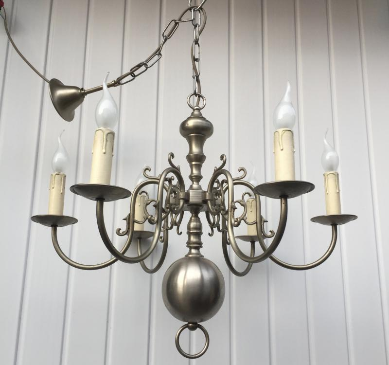 CHQEBF - Stunning Vintage Antique Silver 6 Branch French Chandelier.