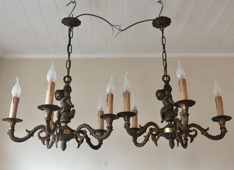 PAIR VINTAGE ANTIQUE GILT BRASS ROCOCO CHERUBS 5 BRANCH CHANDELIERS